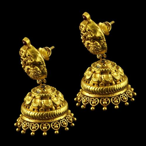 Gold Plated Antique Design Jhumka Earrings Studded Red Onyx Stones