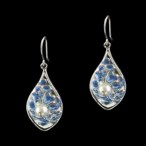 Silver Fancy Design Hanging Earring Studded Pearls