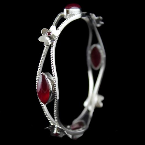 Silver Fancy Design Bangle Studded Red Onyx Stones
