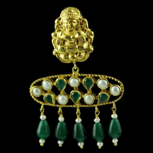 Gold Plated God Design Drops Earring Studded Green Pear and Pearl