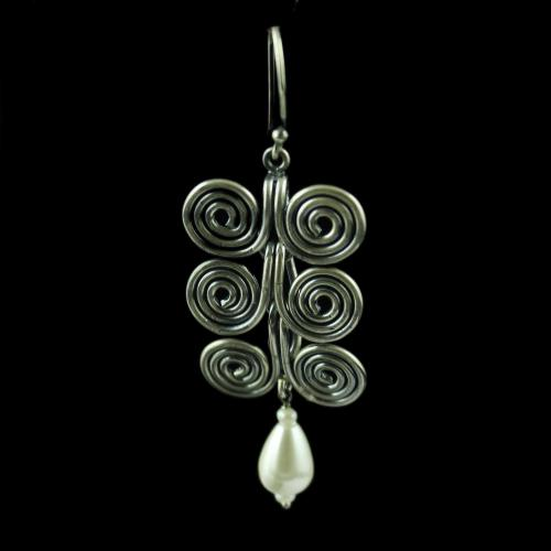 Silver Oxidized Hanging Earring Pearl Pear Beads