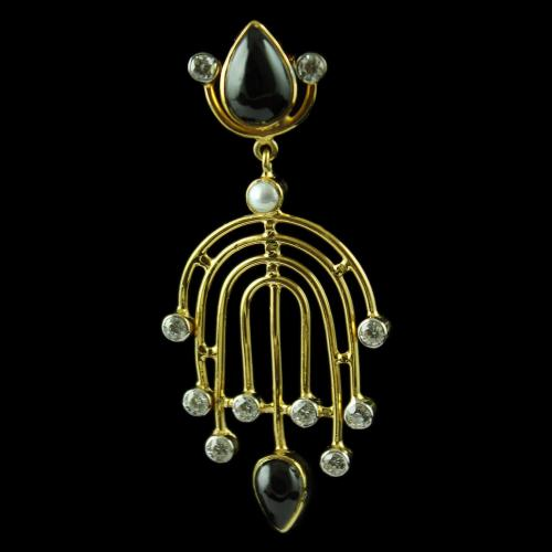 Gold Plated Drops Earring Studded Black Onyx And Pearl