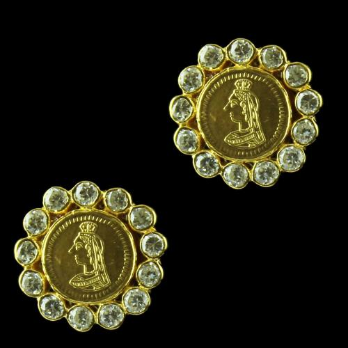 GOld Plated Coin Earring Studded Yellow Zircon Stones