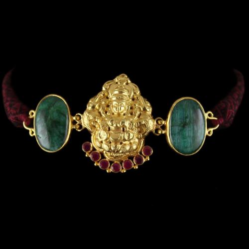 Gold Plated God Design vanki Bajuband Green Onyx Stones And Thrad