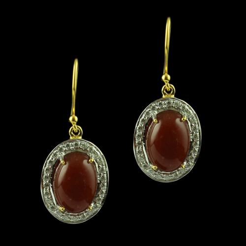Gold Plated Hanging Earring Studded With Orange Onyx And  Zircon Stone