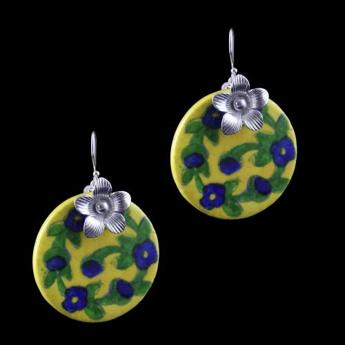 Silver Blue Pottery Hanging Earrings