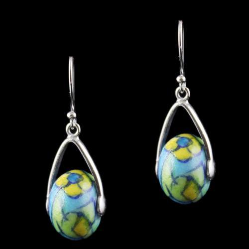 Silver Green Pottery Hanging Earrings