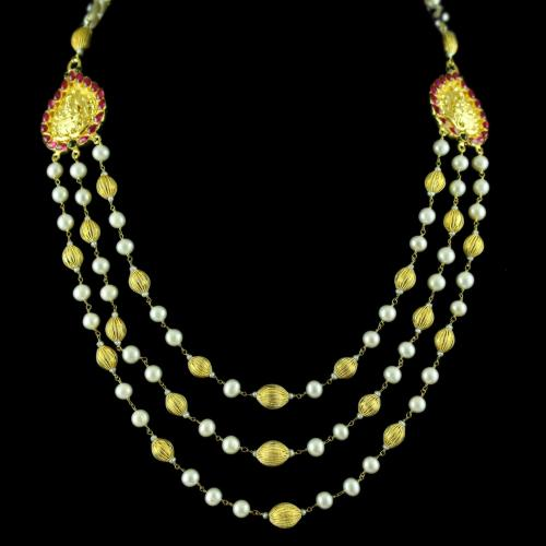 Gold Plated Necklace Studded With Pearl And Red Onyx