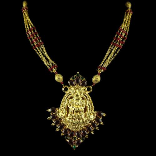 Gold Plated Red And Green Onyx Stone Lakshmi Necklace