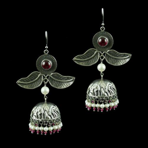 Silver Jhumka Hanging Earring Studded With Pearl And Red Onyx