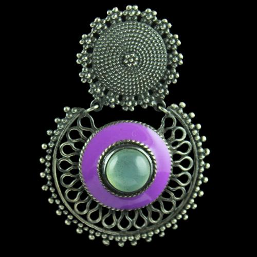 Silver Oxidize Enamel Earring Studded With Black Onyx