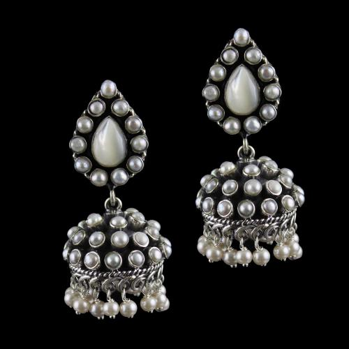 Silver Oxidized Design Jhumka Studded Pearls