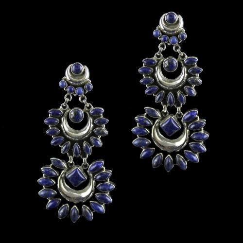 Silver Oxidized earring Drops Studded Lapis lazuli