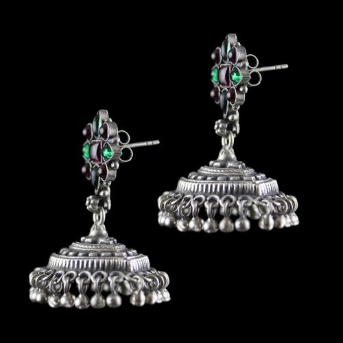Silver Oxidized Jhumka Studded Red,Green Onyx