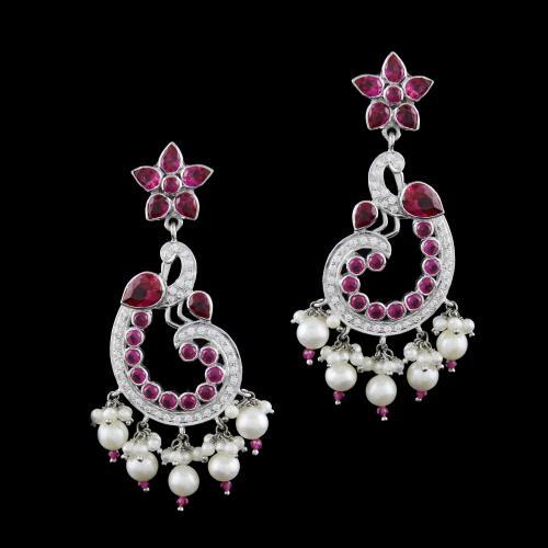 zircon  And Onyx Stones Peacock Drops Earrings Pearl