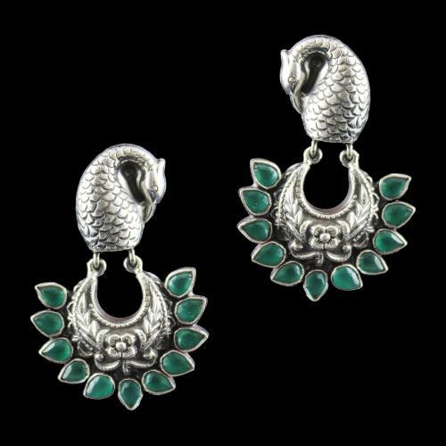 Onyx Stones Peacock Drops Earrings