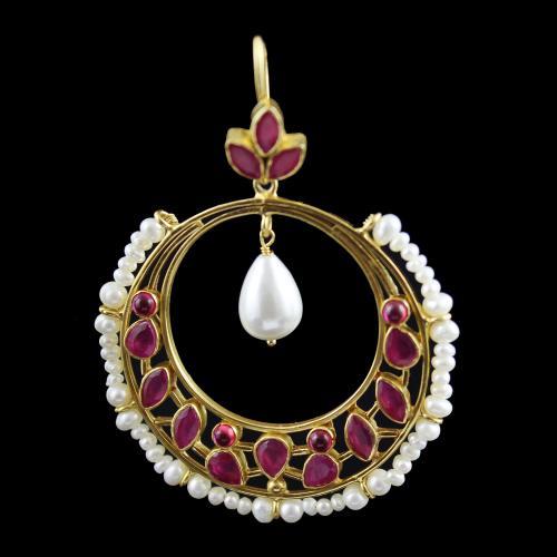 onyx And Pearl Hanging Chandbali Earring
