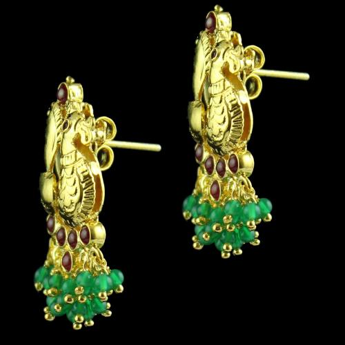 Peacock Drops Earring With Red And Green Onyx