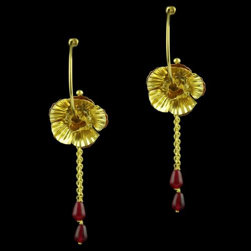 Drops Earring With Red Onyx