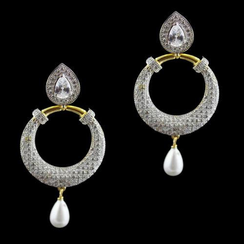 Gold Plated Chandbali Earrings Studded Zircon Stones