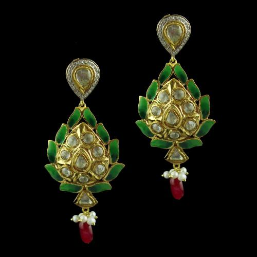 Gold Plated Earring Studded Kunthan And Red Ruby Pearl