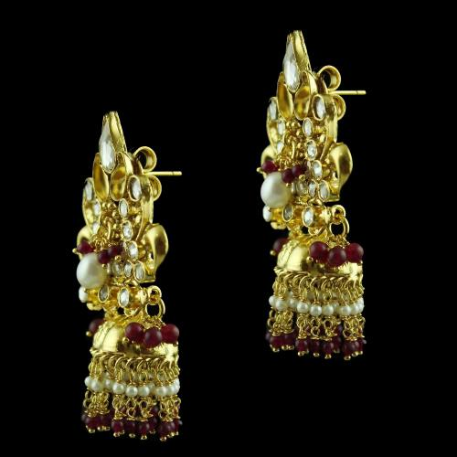 Gold Plated Jhumka Earring Studded Red Onyx And Pearls