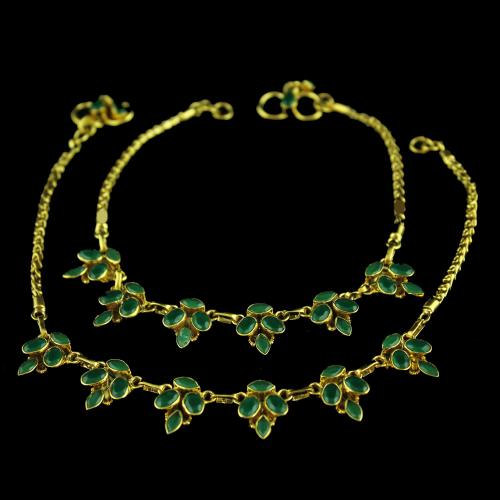 Gold Plated Fancy Anklet Studded Green Onyx