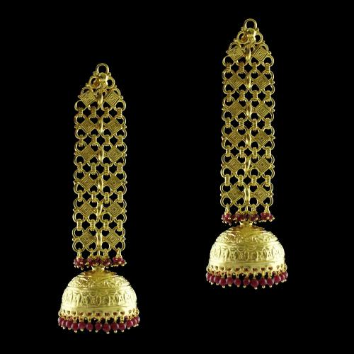 Gold Plated Fancy Jhumka Red Beads