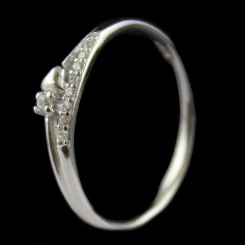 R15945 Sterling Silver Fancy Ring Studded Zircon Stone