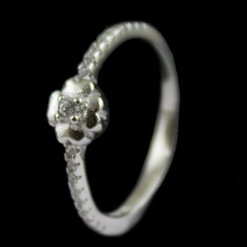 R10330 Sterling Silver Fancy Ring Studded Zircon Stone