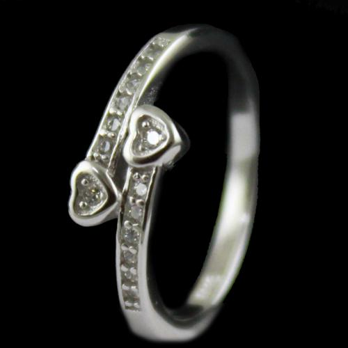R14721 Sterling Silver Ring Studded Heart Shape Zircon Stones
