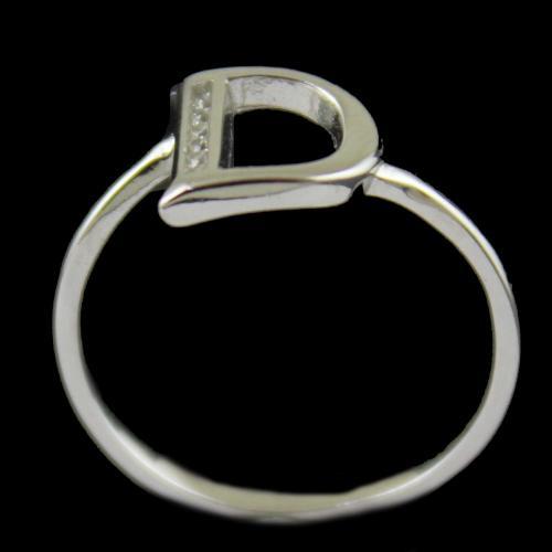 Zircon Stone D Letter Ring