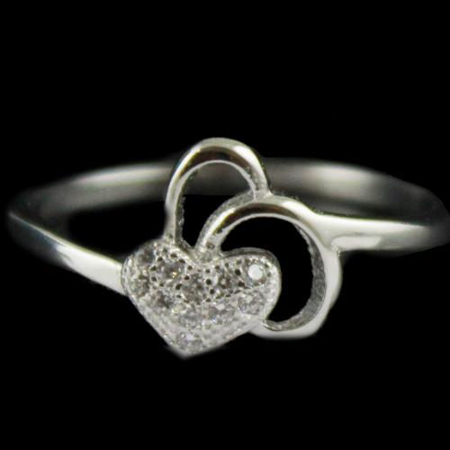 R14720 Sterling Silver Ring Studded Heart Shape Zircon Stones