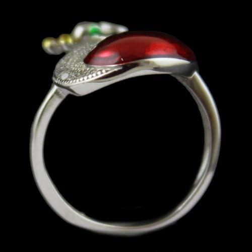 Enamel Peacock Zircon Stone Bridal Ring