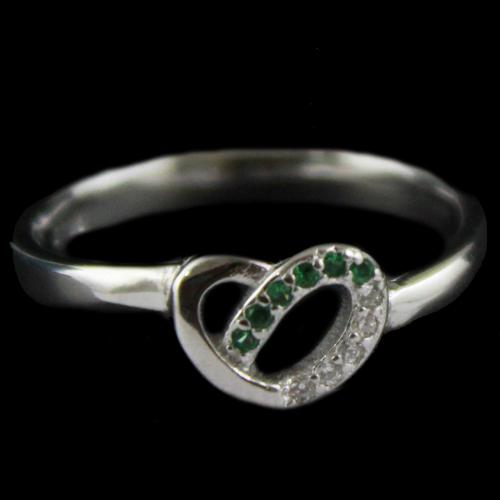 R4635 Sterling Silver Fancy Ring Studded Zircon Stone