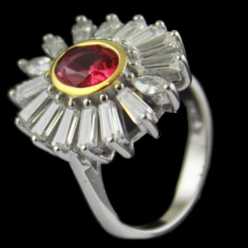 Red Zircon Stone Bridal Ring