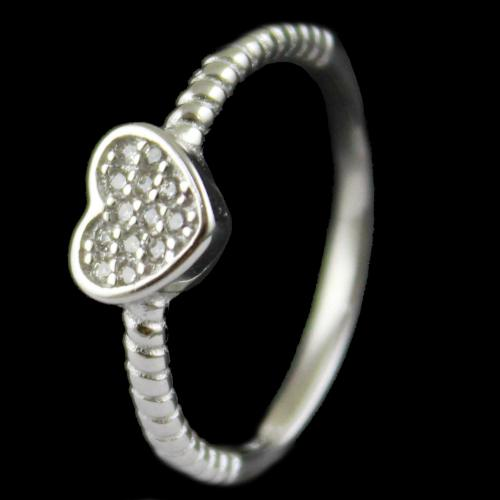R13242 Sterling Silver Fancy Ring Studded Zircon Stones