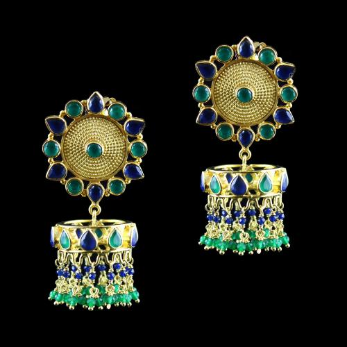 Gold Plated Earring Drops  Green,blue Onyx And Green,Blue Beads