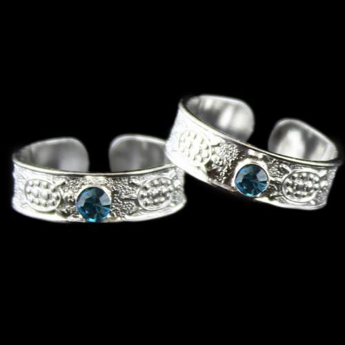 Two Layer Toe Ring Blue Stone