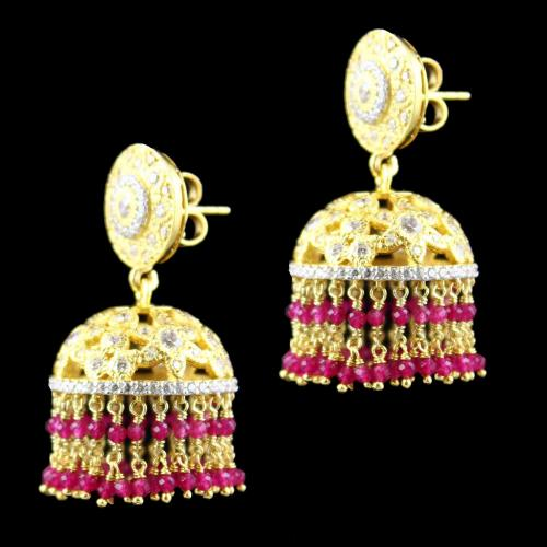 Gold Plated Swarovski And Corundum Stone Jhumkas