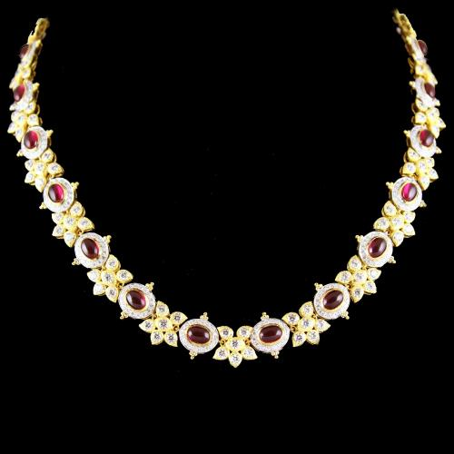 Gold Plated Floral Swarovski And  Corondum Stone Necklace
