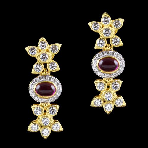Gold Plated Floral Swarovski And  Corondum Stone Earrings