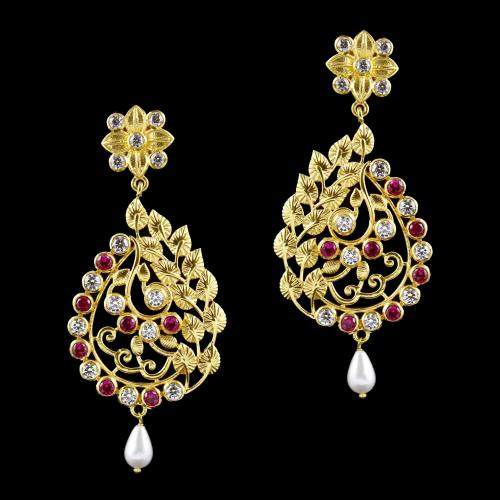 Gold Plated Swarovsksi Stone Drops Earring