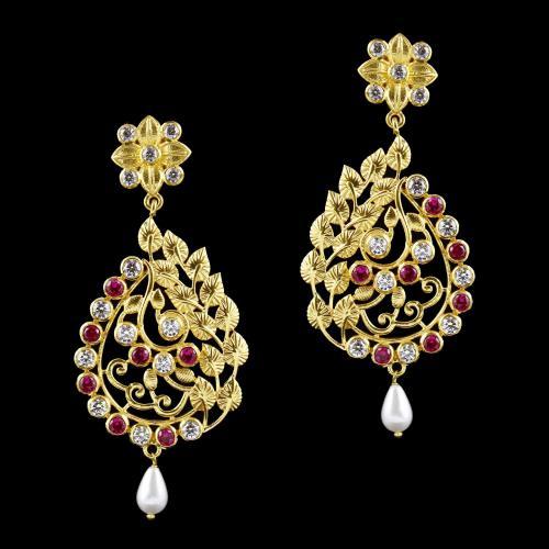 Gold Plated Swarovsksi Stone Drops Earring