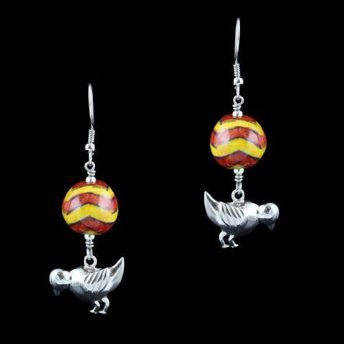 Blue Pottery Birds Hanging Earrings