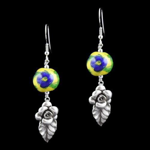 Blue Pottery Flowers Hanging Earrings