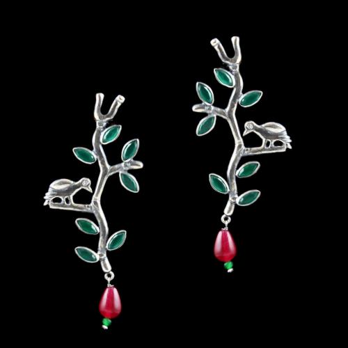 Green Leaf And Red Bead Drop With Zircon Stone Earring