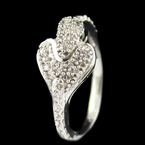 Zircon Stone Heart Shape Fancy Ring