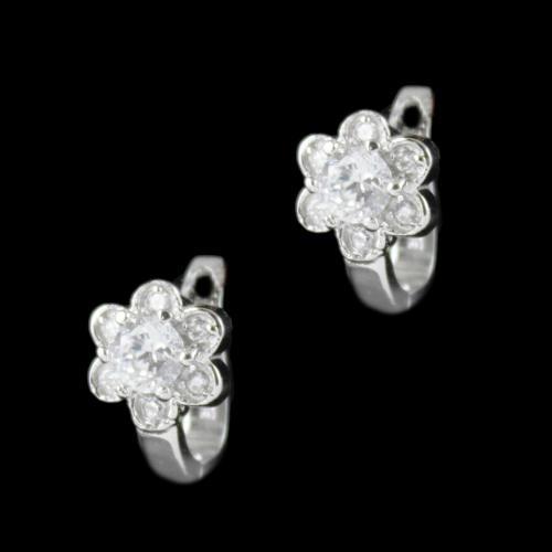 E1900 Sterling Silver Bali Earrings Studded Semi Precious Stones