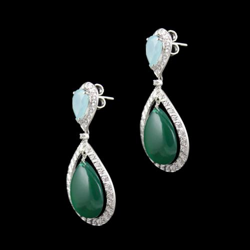 Calcedonia And Onyx Stone Party Wear Drops Earring